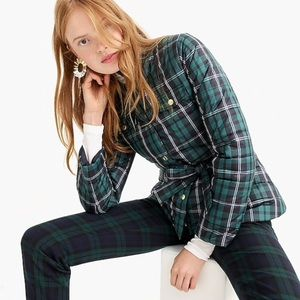 J. Crew Green Plaid Belted Puffer Jacket